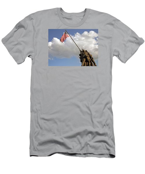 Men's T-Shirt (Slim Fit) featuring the photograph Raising The American Flag by Cora Wandel