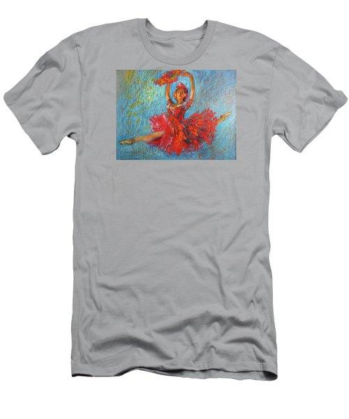 Red Fan Men's T-Shirt (Slim Fit) by Jieming Wang
