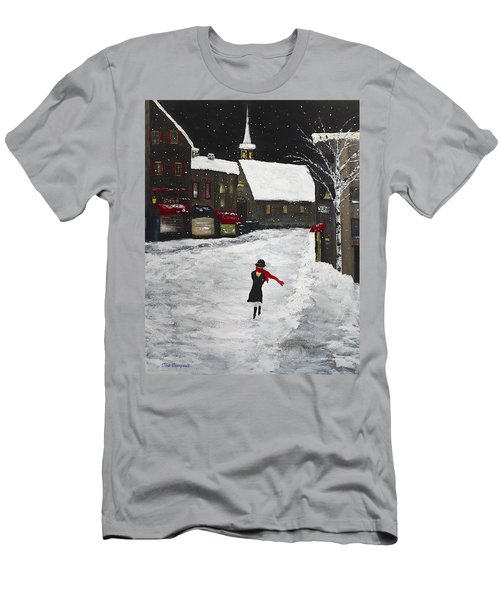 Red Scarf Winter Scene Men's T-Shirt (Athletic Fit)