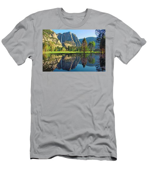 Reflections Of Yosemite Falls Men's T-Shirt (Slim Fit) by Lynn Bauer