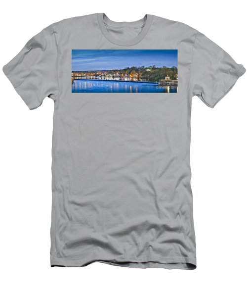 Schuylkill River  Boathouse Row Lit At Night  Men's T-Shirt (Slim Fit) by David Zanzinger