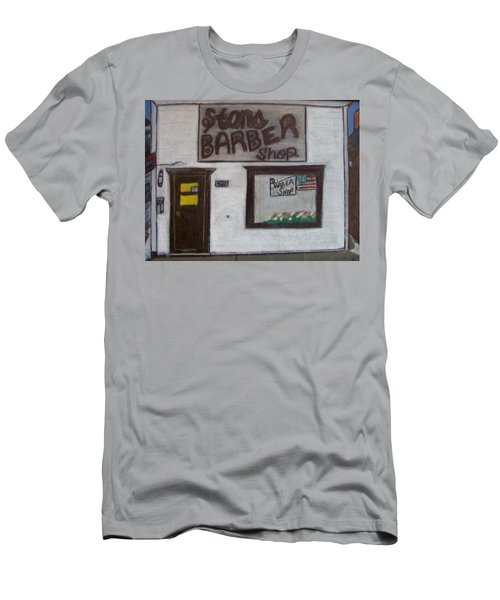 Men's T-Shirt (Slim Fit) featuring the mixed media Stans Barber Shop Menominee by Jonathon Hansen