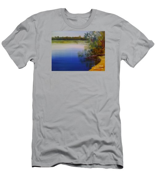 Men's T-Shirt (Slim Fit) featuring the painting Still Waters - Original Sold by Therese Alcorn
