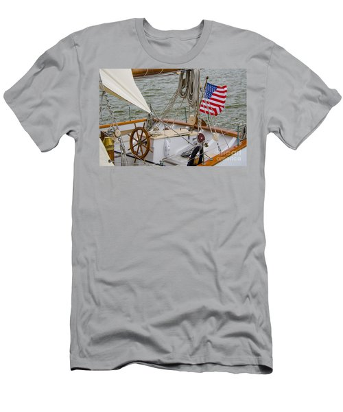 Tall Ship Wheel Men's T-Shirt (Slim Fit) by Dale Powell