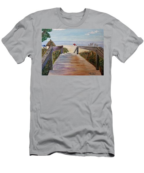Men's T-Shirt (Slim Fit) featuring the painting To The Beach by Marilyn  McNish
