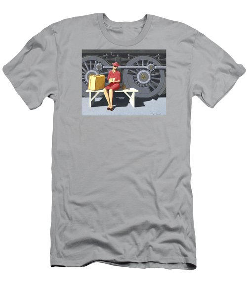 Woman With Locomotive Men's T-Shirt (Slim Fit) by Gary Giacomelli