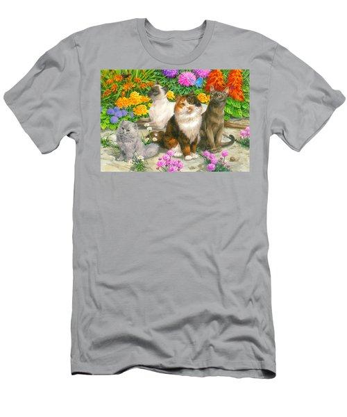 Floral Cats Men's T-Shirt (Athletic Fit)
