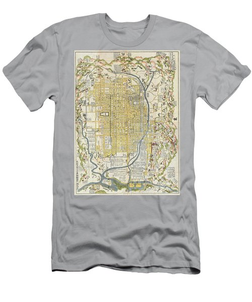 1696 Genroku 9 Early Edo Japanese Map Of Kyoto Japan Men's T-Shirt (Athletic Fit)
