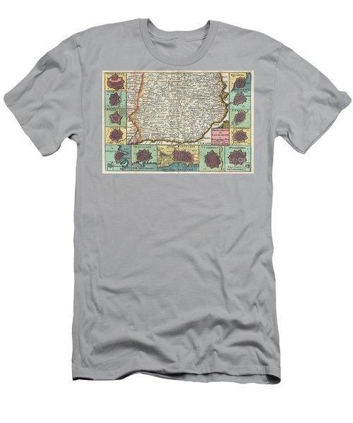 1747 La Feuille Map Of Catalonia Spain Men's T-Shirt (Athletic Fit)