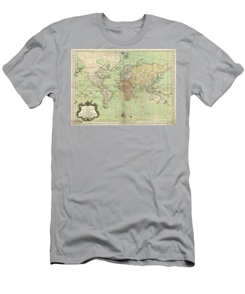 1778 Bellin Nautical Chart Or Map Of The World Men's T-Shirt (Athletic Fit)