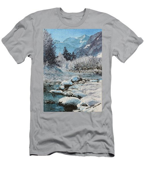 Men's T-Shirt (Slim Fit) featuring the painting Blue Winter by Mary Ellen Anderson