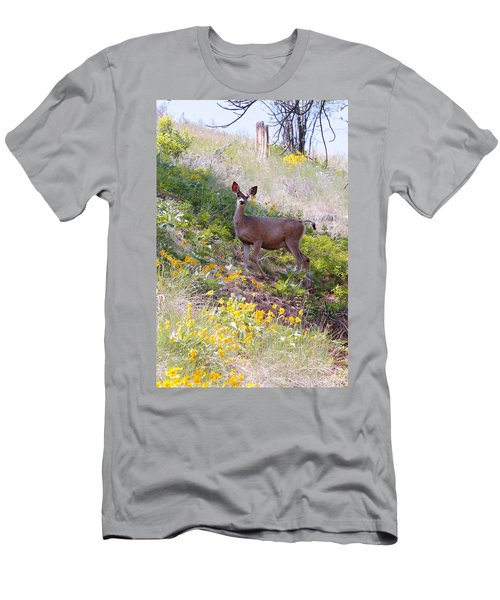 Men's T-Shirt (Slim Fit) featuring the photograph Deer In Wildflowers by Athena Mckinzie