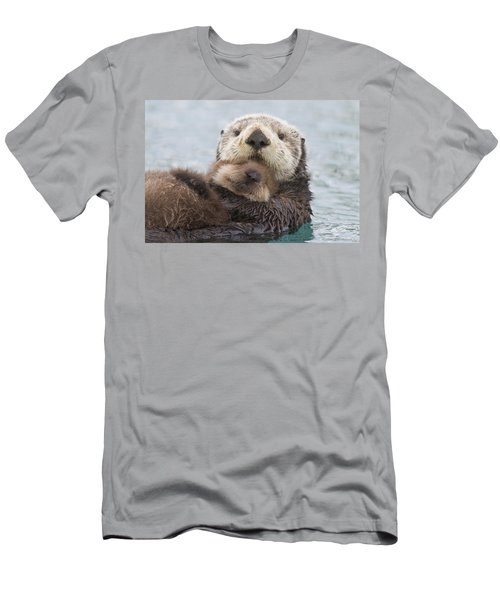 Female Sea Otter Holding Newborn Pup Men's T-Shirt (Athletic Fit)