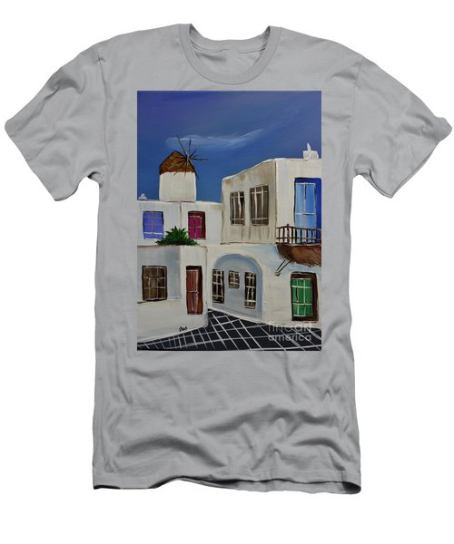 Men's T-Shirt (Slim Fit) featuring the painting Greek Village by Janice Rae Pariza