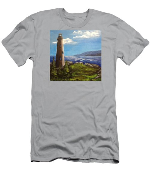 Lighthouse Men's T-Shirt (Slim Fit) by Bozena Zajaczkowska