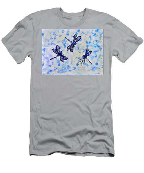 3 Blue Dragonflies Alcohol Ink Men's T-Shirt (Athletic Fit)