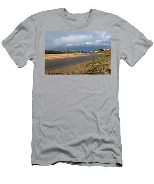 Men's T-Shirt (Slim Fit) featuring the photograph Storm Approaches The Gannel Estuary Newquay Cornwall by Nicholas Burningham