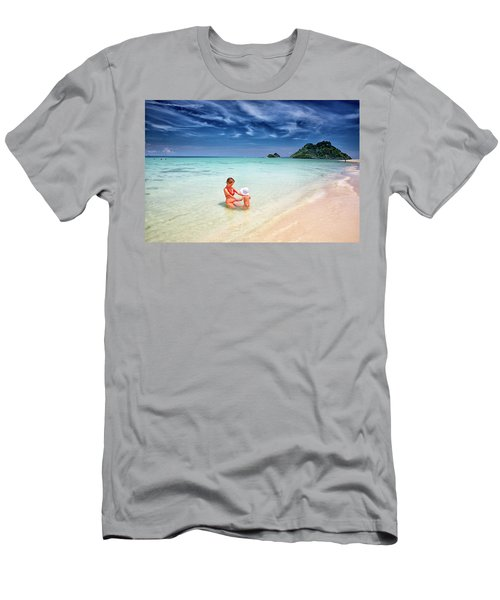 Turquoise Waters And White Sand In Ko Men's T-Shirt (Athletic Fit)