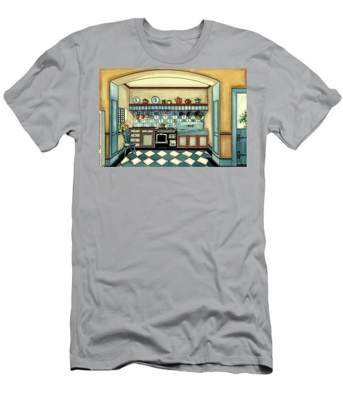 A Blue Kitchen With A Tiled Floor Men's T-Shirt (Athletic Fit)