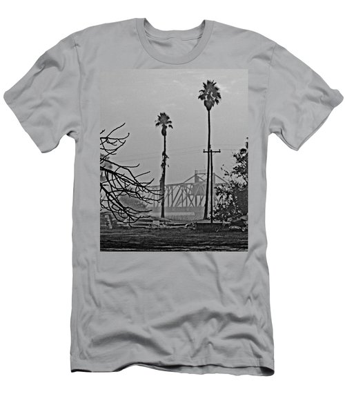 a Delta drawbridge in the morning mist Men's T-Shirt (Athletic Fit)