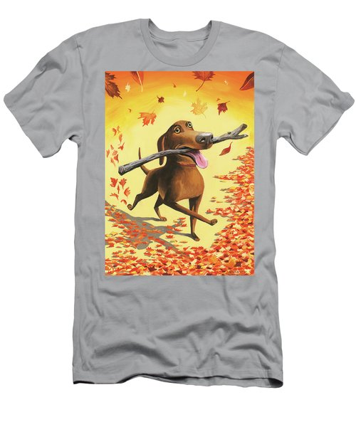A Dog Carries A Stick Through Fall Leaves Men's T-Shirt (Athletic Fit)