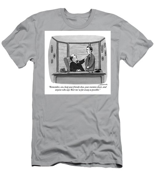 A Father Behind A Desk Addresses His Grown Up Son Men's T-Shirt (Athletic Fit)