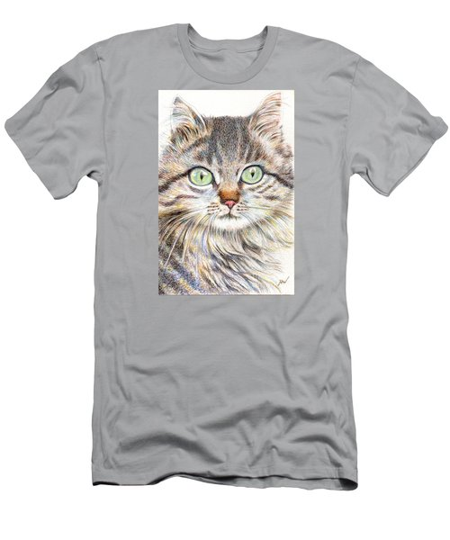 Men's T-Shirt (Slim Fit) featuring the drawing A Handsome Cat  by Jingfen Hwu