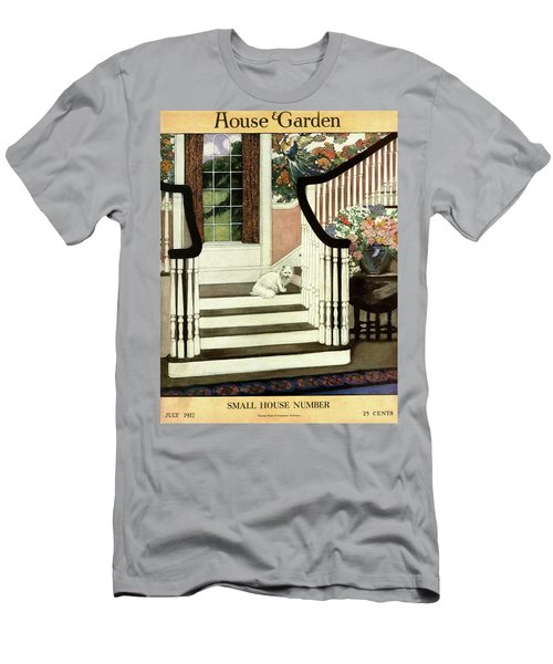 A House And Garden Cover Of A Cat On A Staircase Men's T-Shirt (Athletic Fit)