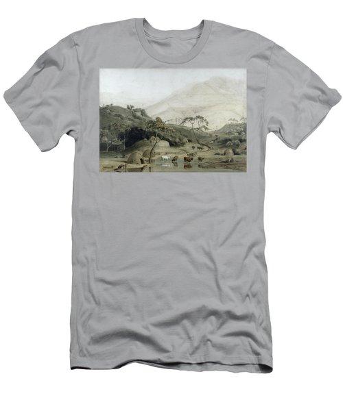 A Kaffir Village, C.1801 Wc & Graphite On Paper Men's T-Shirt (Athletic Fit)