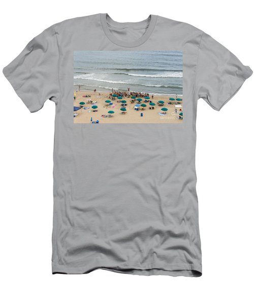 A Lifeguard Gives A Safety Briefing To Beachgoers In Ocean City Maryland Men's T-Shirt (Athletic Fit)