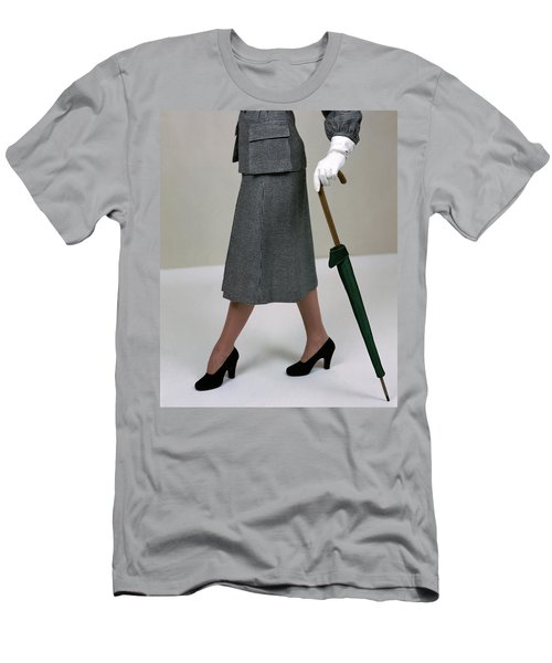A Model Holding An Umbrella Men's T-Shirt (Athletic Fit)