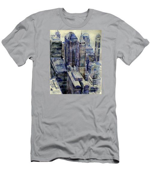 Men's T-Shirt (Slim Fit) featuring the painting Rainy Day In Gotham by Jeffrey S Perrine