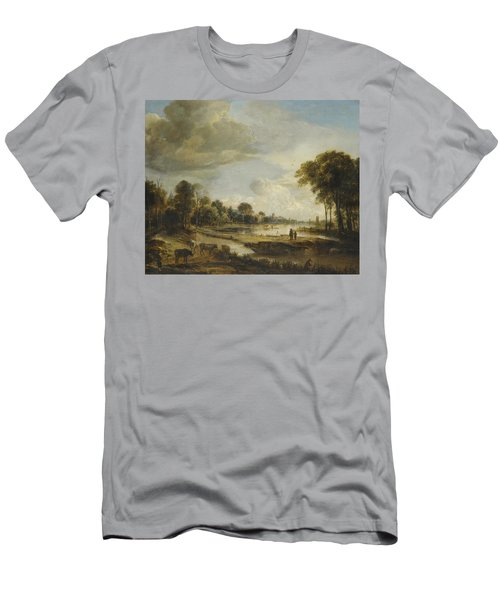 Men's T-Shirt (Slim Fit) featuring the painting A River Landscape With Figures And Cattle by Gianfranco Weiss