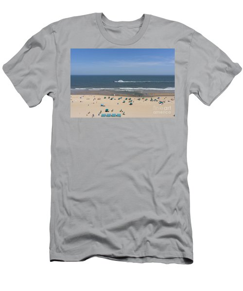 A Touring Speedboat Passes By Shore In Ocean City Maryland Men's T-Shirt (Athletic Fit)