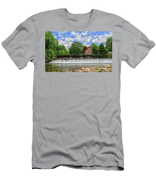 Men's T-Shirt (Slim Fit) featuring the photograph A View Of The Mill From The River by Debra Fedchin
