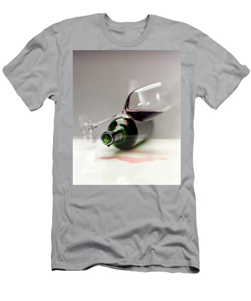 A Wine Bottle And A Glass Of Wine Men's T-Shirt (Athletic Fit)