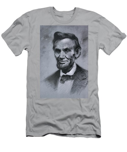 Men's T-Shirt (Slim Fit) featuring the drawing Abraham Lincoln by Viola El
