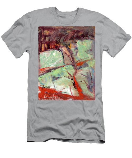 Abstract With Cadmium Red Men's T-Shirt (Slim Fit) by Betty Pieper