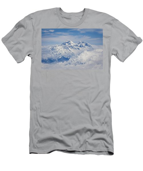 Aerial View Of Mount Everest Men's T-Shirt (Slim Fit) by Hitendra SINKAR