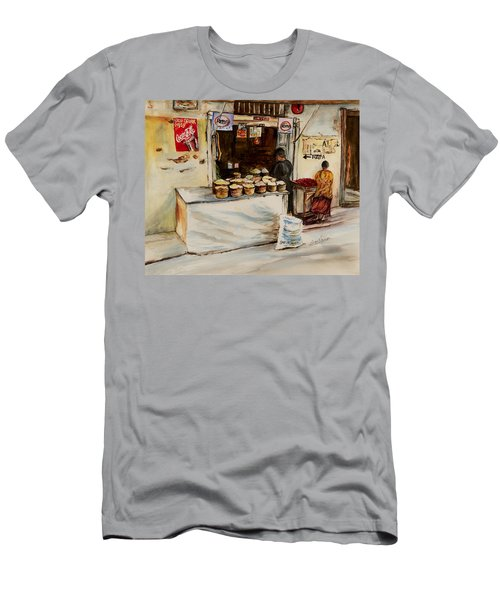 Men's T-Shirt (Slim Fit) featuring the painting African Corner Store by Sher Nasser
