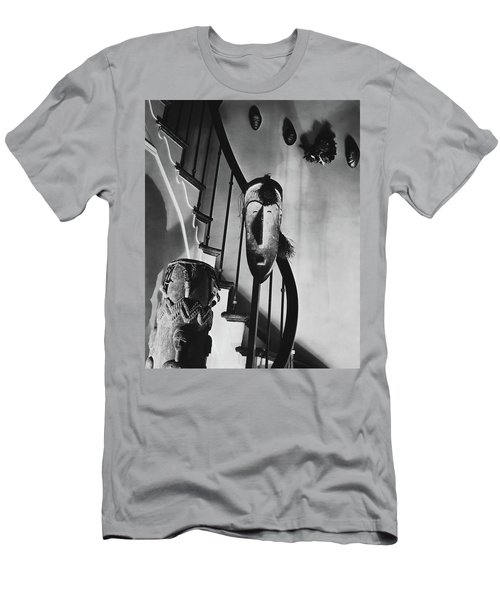 African Masks And Drums In Eugene O'neill's Men's T-Shirt (Athletic Fit)