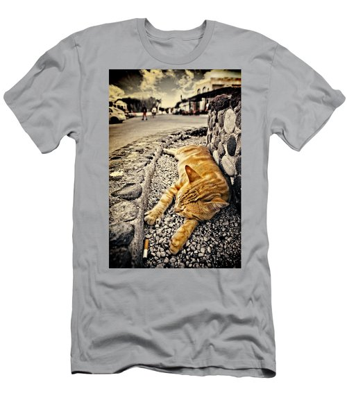 Men's T-Shirt (Slim Fit) featuring the photograph Alley Cat Siesta In Grunge by Meirion Matthias