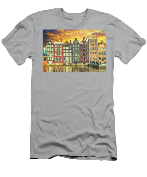 Men's T-Shirt (Athletic Fit) featuring the painting Amsterdam by Taylan Apukovska