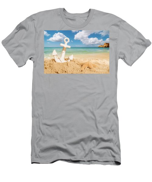 Anchor On The Beach Men's T-Shirt (Athletic Fit)