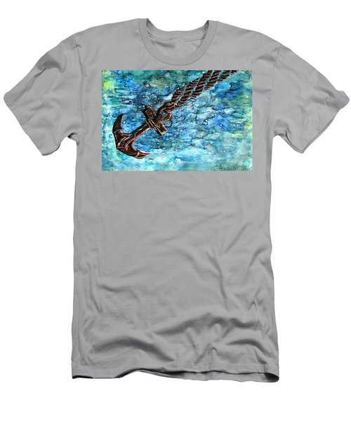 Anchor Under Water Alcohol Inks Men's T-Shirt (Athletic Fit)