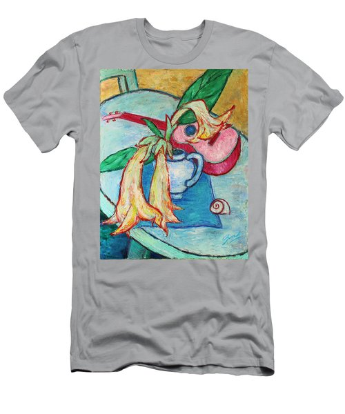 Men's T-Shirt (Athletic Fit) featuring the painting Angel's Trumpet Flowers And A Ukulele by Xueling Zou