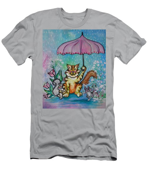 Men's T-Shirt (Slim Fit) featuring the painting April Showers by Leslie Manley