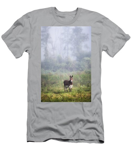 August Morning - Donkey In The Field. Men's T-Shirt (Slim Fit)