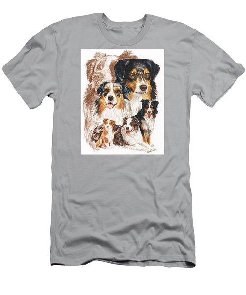 Men's T-Shirt (Athletic Fit) featuring the drawing Australian Shepherd Revamp by Barbara Keith