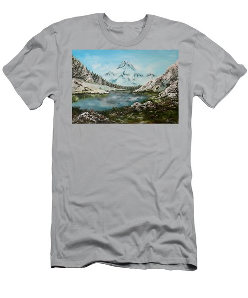Men's T-Shirt (Slim Fit) featuring the painting Austrian Lake by Jean Walker